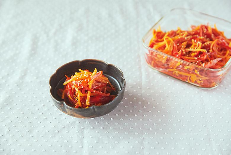 週末に作って楽する、使える常備菜【赤ピーマンとにんじんのきんぴら編】