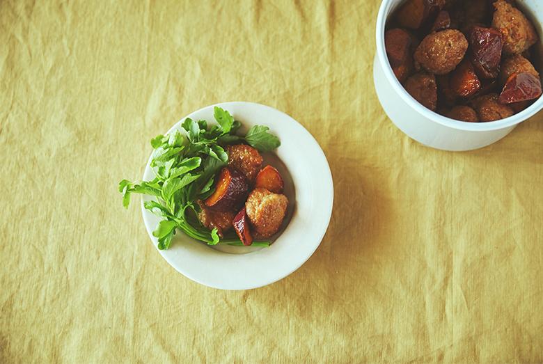 週末に作って楽する、使える常備菜【鶏つくねとさつまいもの甘辛煮編】