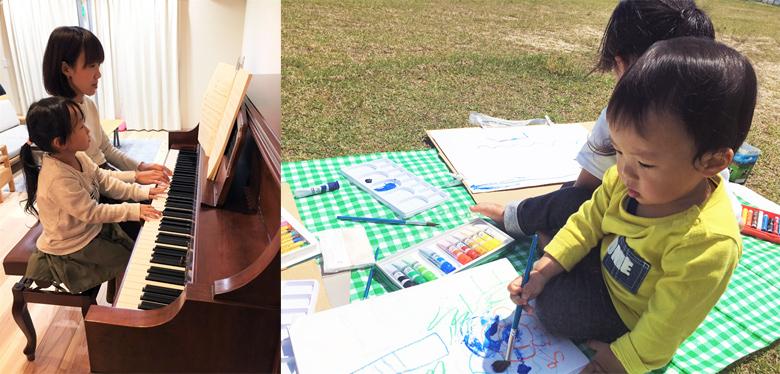 ピアノの練習とピクニックでお絵描き